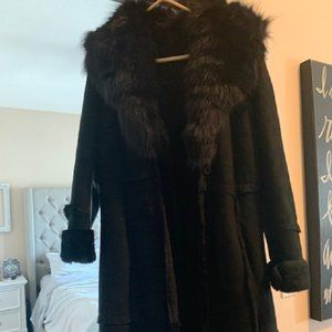 Vera Pelle Genuine Leather Shearling Coat with Fur